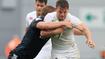 Will Evans in action for England against Scotland during the World Rugby U20 Championship in Manches