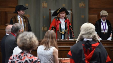 The new Lord Mayor and Shriff of Norwich are sworn in at a ceremony at City Hall in Norwich.The out