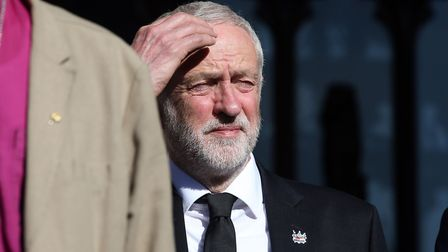 Labour leader Jeremy Corbyn at the vigil in Manchester following Monday's terror attack. Picture: Ma