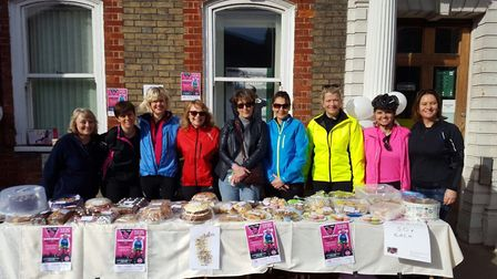 Their fundraising cake stall in Southwold. Picture: Courtesy of Marie Carter.