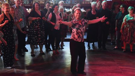 Dancers try out the mambo with help from professional dancers at the Ragroof Tea Dance in the Adnams