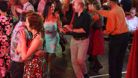 Dancers enjoying the Ragroof Tea Dance in the Adnams Spiegeltent for the Norfolk and Norwich Festiva