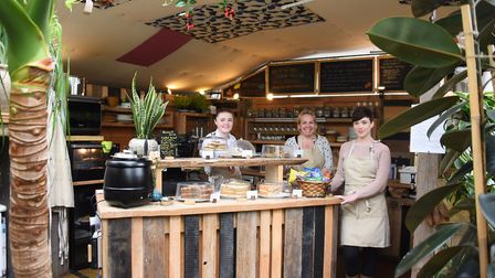 Staff at the popular café at the Urban Jungle garden centre, at Old Costessey. From left, Emma Henry