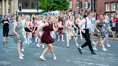 Dancers from Norwich School participating in the 2016 Lord Mayor's Procession through the streets of