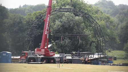 The stage being built at Earlham Park for Let's Rock! Norwich. Picture: DENISE BRADLEY
