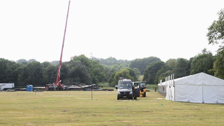 A marquee and the stage being built at Earlham Park ready for Saturday's Let's Rock Norwich! retro m