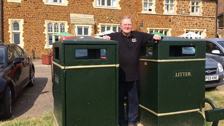 John Maiden, who is a member of the Hunstanton and District Civic Society, with the standard bins wh