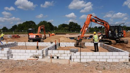 Building work on the Rayne Park housing development at Three Score, Bowthorpe. Council leaders need