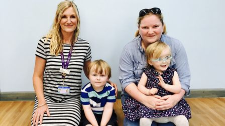 Family nurse Cheryl Hale and Xanthia Woods, with her children Jackson and Xylia. Photo: ECCH