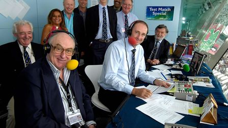 Henry Blofeld (left) with fellow members of the TMS team. Picture: Rebecca Naden/PA Wire.
