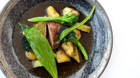 Norfolk lamb with wild garlic and Norfolk Peer potatoes by Eric Snaith at Titchwell Manor. Photo: Ti