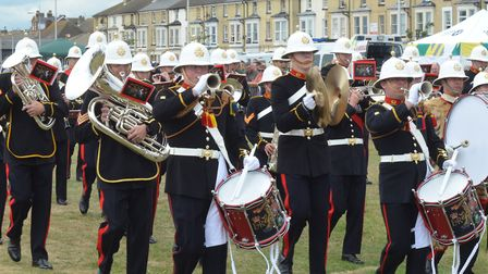 The Royal Marine Band Collingwood perform at Lowestoft's Armed Forces Day. Pictures: Mick Howes
