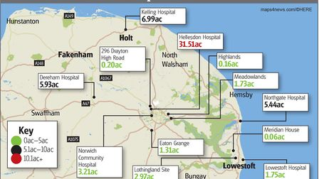NHS sites in Norfolk and Waveney identified as having surplus land, acres rounded to two deciaml pla