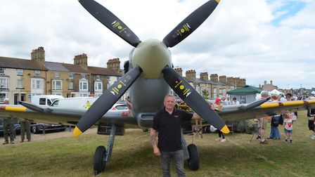 Armed Forces Day in Lowestoft. Terry Arlow and his replica Spitfire. Pictures: MICK HOWES