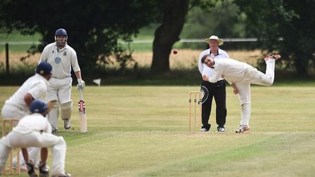 Alex Johnson bowling for Norwich A during their win over Bradfield in Norfolk Alliance Division One.