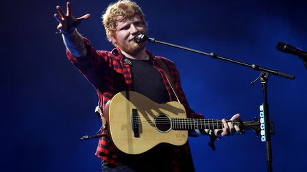 Ed Sheeran performing on the Pyramid stage at Glastonbury Festival Picture Yui Mok/PA Wire