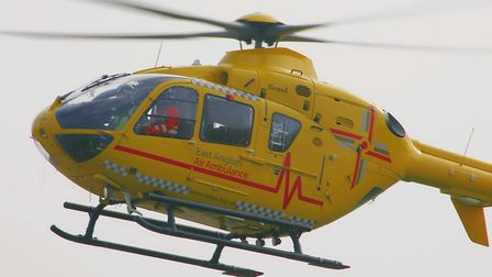The East Anglian Air Ambulance was dispatched to Hoveton. Photo: Simon Parker