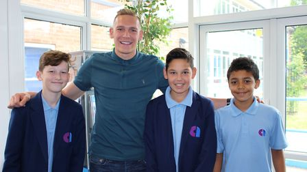 Cheltenham Town footballer Danny Wright, left, on a visit to his alma mater, at Attleborough High Sc