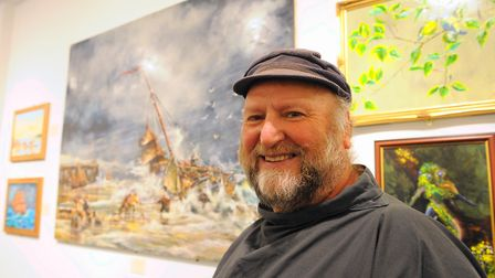 Ernie Childs at an exhibition of his work and others peoples paintings at Great Yarmouth Library. P