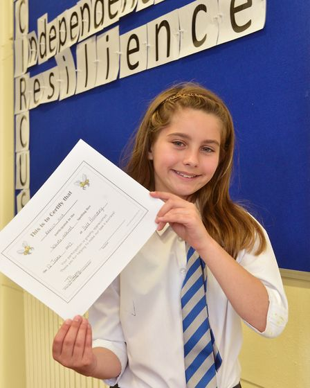 Youngsters at The Dell Primary School, Oulton Broad take part in a spelling bee contest.Runner-up,
