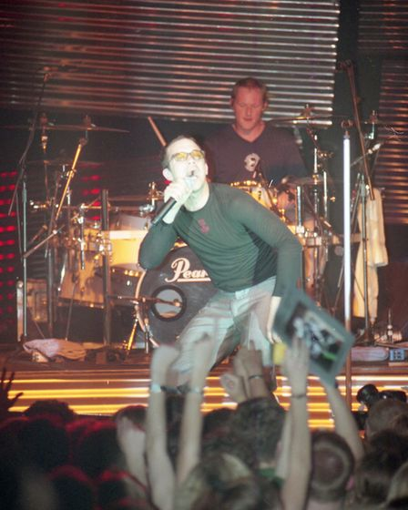 Robbie Williams performing at the UEA in Norwich on October 1 1997. Photo: Archant Library.