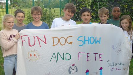 Youngsters from the Hethersett Jubilee Youth Club prepared for an upcoming fete and dog show by deco