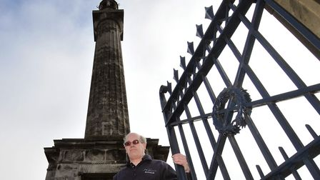 Les Cole at the base of the Nelson Monument, Great Yarmouth. Photo: Andy Darnell
