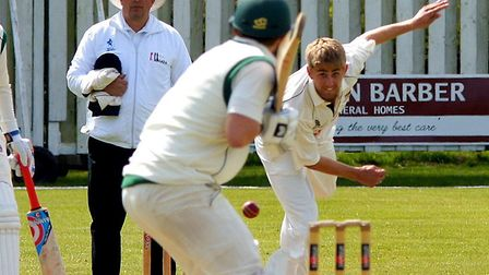 Olly Stone opening the bowling for Norfolk in a five-wicket win over Lincolnshire at Manor Park in t