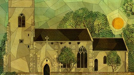 An artist's impression of St Botolph's Church at Barford, by Kate Baylay.