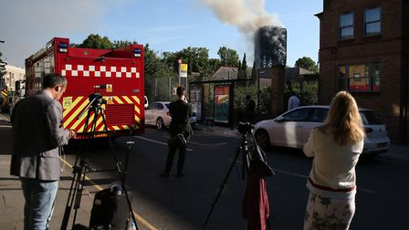 Emergency services and media at the scene (Picture: Steve Paston/PA Wire)