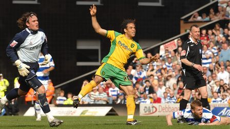 Darel Russell in action against QPR during a 3-0 win for the Canaries at the end of the 2007/08 camp
