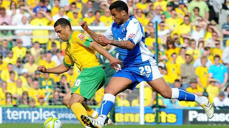 Darel Russell in action against Gillingham on the day Norwich secured the League One title. Picture: