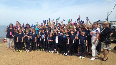 Pupils from Glebe House School at Hunstanton beach for the launch of Refill. Picture: Archant