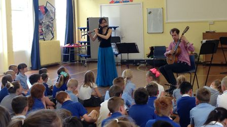 Classical Music Rocks presented interactive assemblies in three West Norfolk schools, pictured here