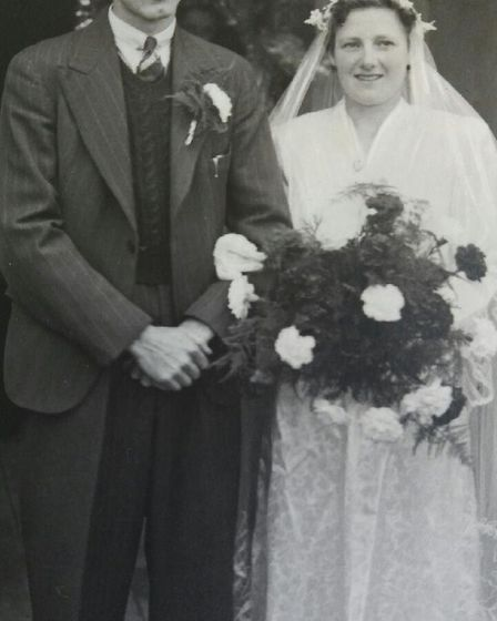 Dennis and Grace Hembling on their wedding day. Picture: Courtesy of Karina Eagle.