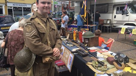 Darren Stride, owner of the museum Blitz and Piecess, dressed as Pike from Dad's Army at an armed f