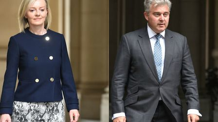 South West Norfolk MP Elizabeth Truss and Great Yarmouth MP Brandon Lewis arrive for the cabinet res