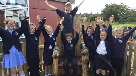 Pupils at Whitefriars Church of England Primary Academy celebrate their new Ofsted report. Picture: