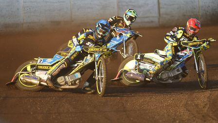 Lewis Rose and Chris Holder, right, in heat one. Picture: Ian Burt