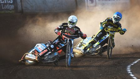 Rory Schlein and Lewis Rose flying around turn two. Picture: Ian Burt