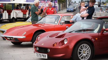 Lotus cars causing a stir as fans peer in the windows during a previous Great Yarmouth Wheels Festiv
