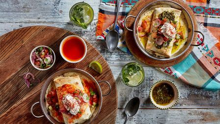 Mexican enchiladas, available from Giraffe World Kitchen, Norwich. Photo: Giles Christopher