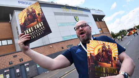 First night of the Take That concerts at Carrow Road. Programme seller David Gray from Norwich. Pic