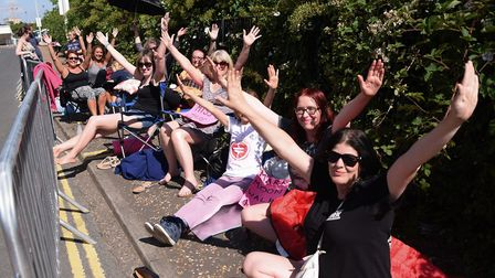 Take That fans start queuing at the Norwich City Football Club stand ready for the concert. Picture: