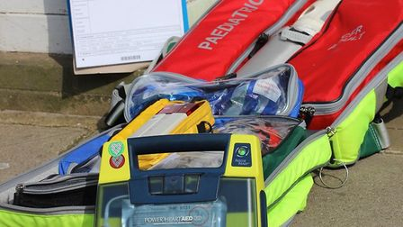 Community first Responders equipment, including the Automated Electronic Defibrilator (AED). Photo: