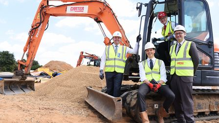 The official start of work on the Rayne Park housing development at Three Score, Bowthorpe. From lef