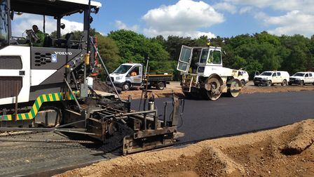 Asphalt is put down on the Norwich Northern Distributor Road. Pic: Norfolk County Council.