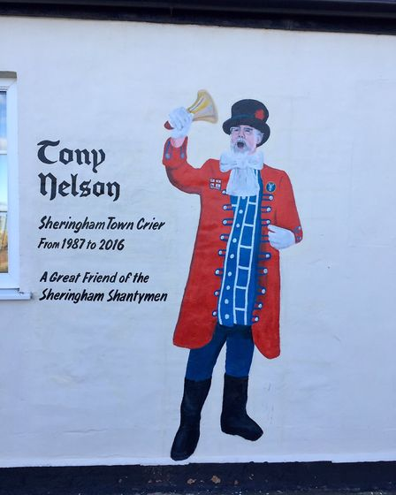 The mural tribute to former Sheringham town crier Tony Nelson on Lifeboat Plain.