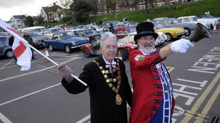 Sheringham Town Crier Tony Nelson and the town's mayor David Gooch signalled the start of the North