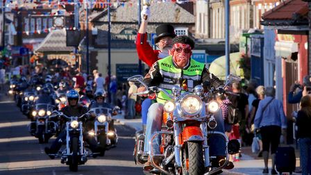 Outgoing Town Crier Tony Nelson was riding high as he led the Sheringham Carnival parade round town